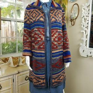 Spense Aztec Navajo tribal long open cardigan Sz L